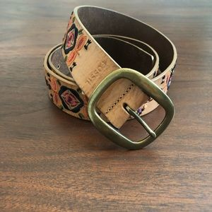 Fossil Tan Leather Belt with embroidery Size Large
